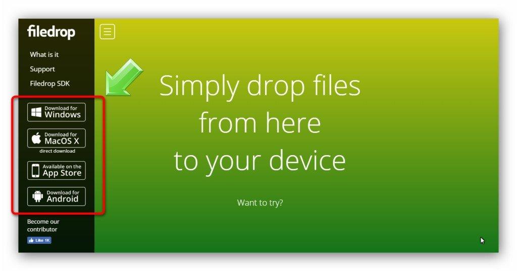 Выбора версии программы FileDrop