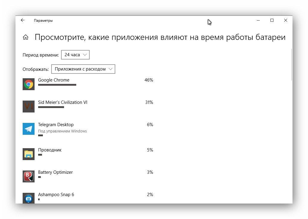 Мониторинг аккумулятора в Windows 10